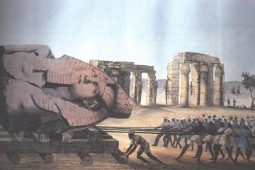 Belzoni odvlaci kip mladog Memnona iz Ramezeja 1816