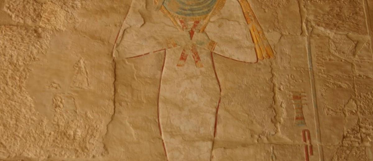 Oziris. Zidna slika iz posmrtnog hrama kraljice Hatšepsut u Deir el-Bahriju