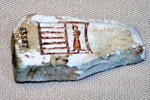 Fragment slonovace s imenom faraona Narmera, dinastija 0, Nagada, EA-55587