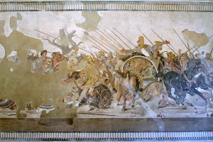 Freska iz Pompeja s prikazom borbe Aleksandra Velikog i Darija III.